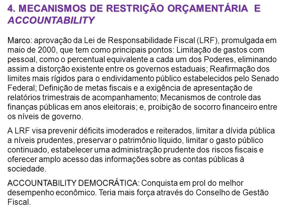 4. MECANISMOS DE RESTRIÇÃO ORÇAMENTÁRIA E ACCOUNTABILITY Marco Marco: aprovação da Lei de Responsabilidade Fiscal (LRF), promulgada em maio de 2000, q