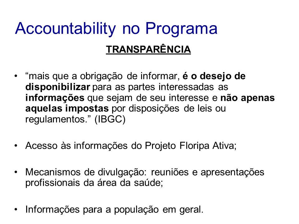 Accountability no Programa TRANSPARÊNCIA mais que a obrigação de informar, é o desejo de disponibilizar para as partes interessadas as informações que