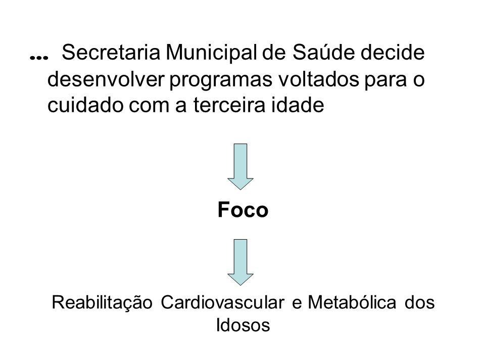 Foco Reabilitação Cardiovascular e Metabólica dos Idosos... Secretaria Municipal de Saúde decide desenvolver programas voltados para o cuidado com a t