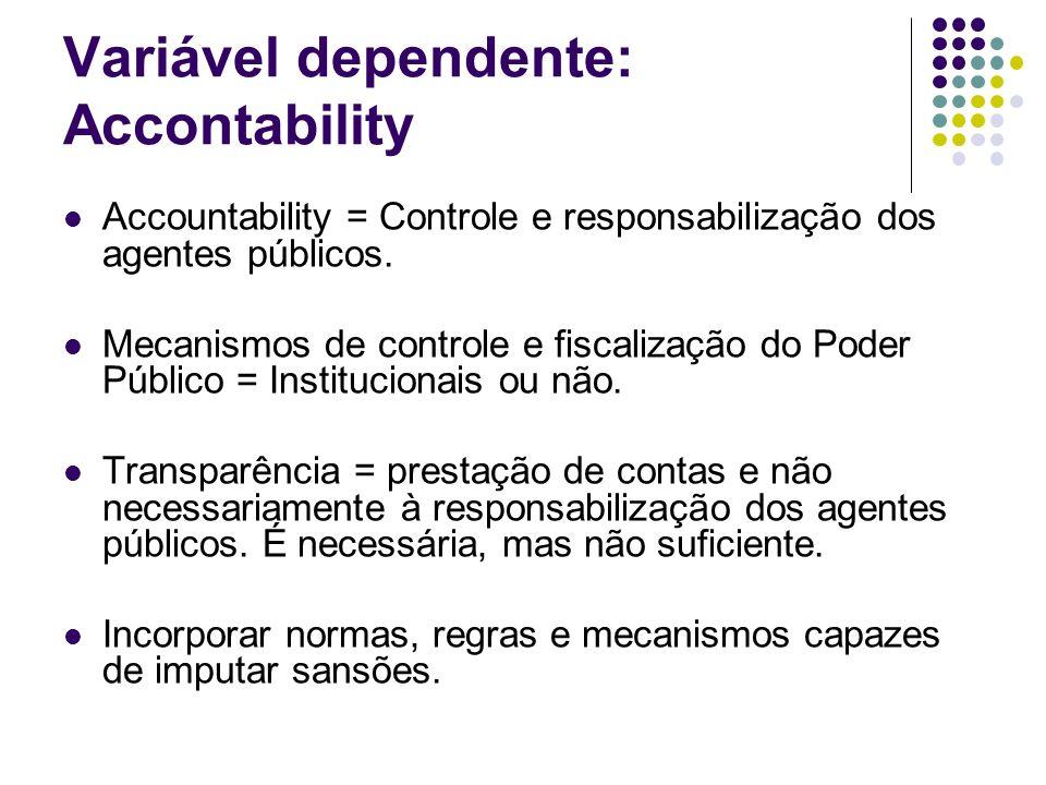 Variável dependente: Accontability Accountability = Controle e responsabilização dos agentes públicos. Mecanismos de controle e fiscalização do Poder