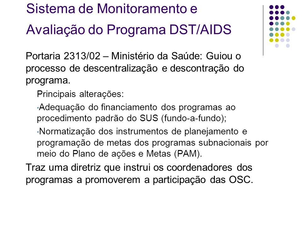 Sistema de Monitoramento e Avaliação do Programa DST/AIDS Portaria 2313/02 – Ministério da Saúde: Guiou o processo de descentralização e descontração