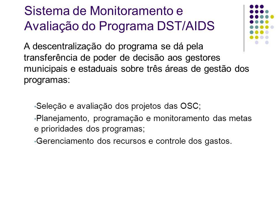 Sistema de Monitoramento e Avaliação do Programa DST/AIDS A descentralização do programa se dá pela transferência de poder de decisão aos gestores mun