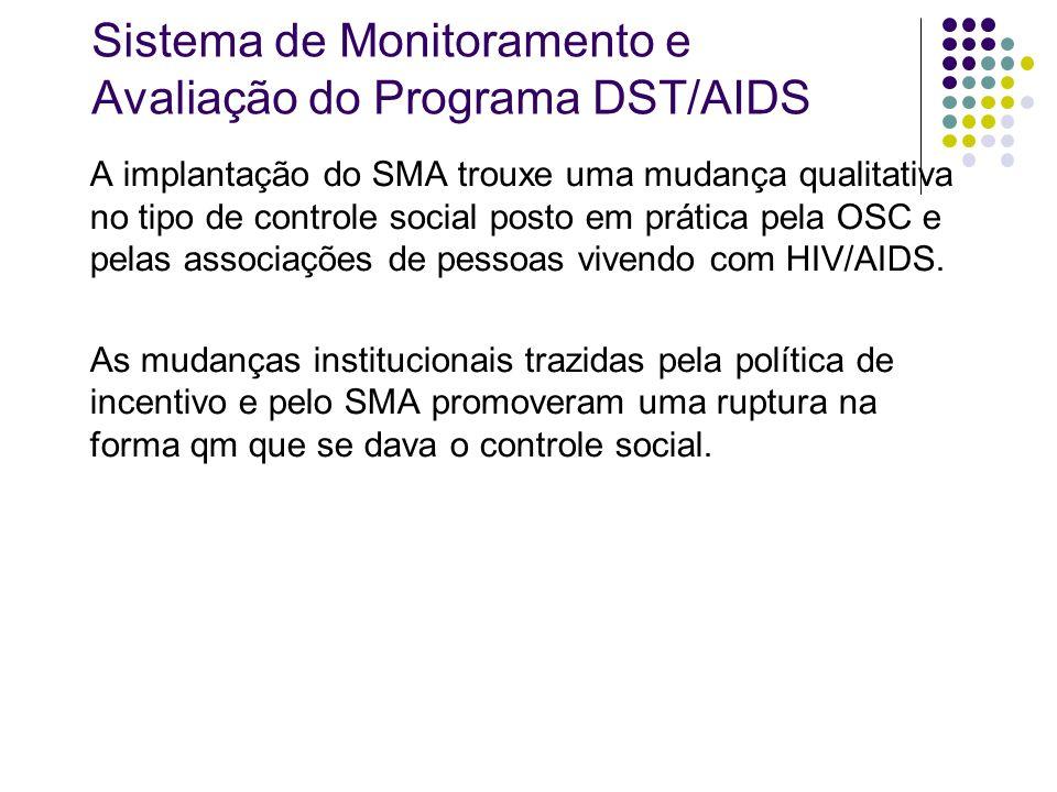 Sistema de Monitoramento e Avaliação do Programa DST/AIDS A implantação do SMA trouxe uma mudança qualitativa no tipo de controle social posto em prát