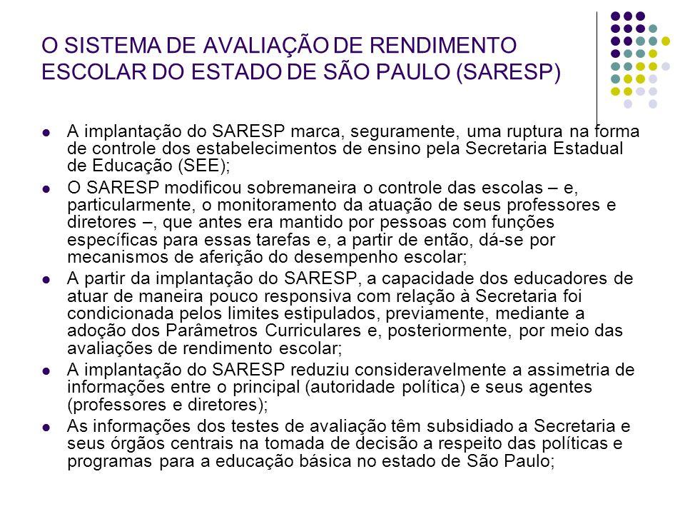 O SISTEMA DE AVALIAÇÃO DE RENDIMENTO ESCOLAR DO ESTADO DE SÃO PAULO (SARESP) A implantação do SARESP marca, seguramente, uma ruptura na forma de contr