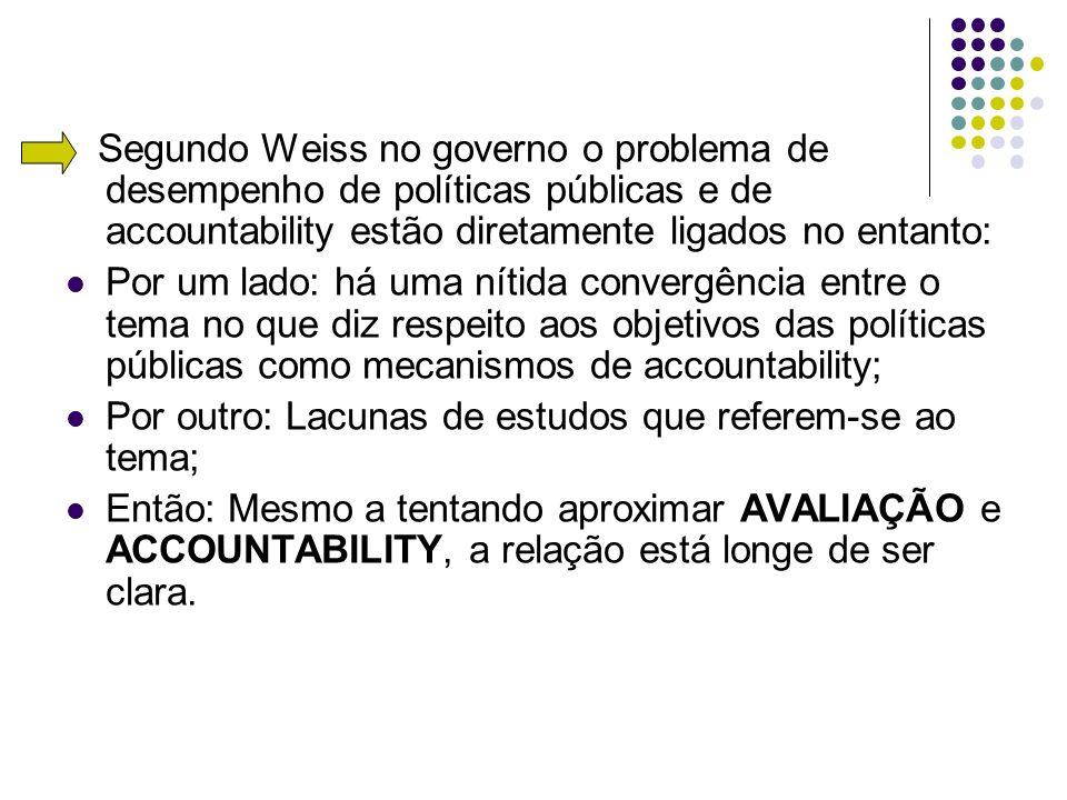 Segundo Weiss no governo o problema de desempenho de políticas públicas e de accountability estão diretamente ligados no entanto: Por um lado: há uma