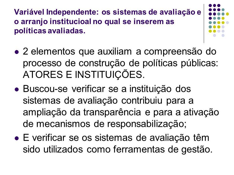 Variável Independente: os sistemas de avaliação e o arranjo institucioal no qual se inserem as políticas avaliadas. 2 elementos que auxiliam a compree