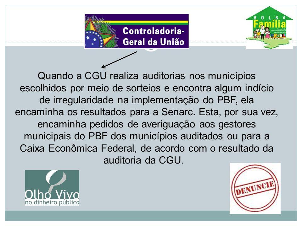 Quando a CGU realiza auditorias nos municípios escolhidos por meio de sorteios e encontra algum indício de irregularidade na implementação do PBF, ela