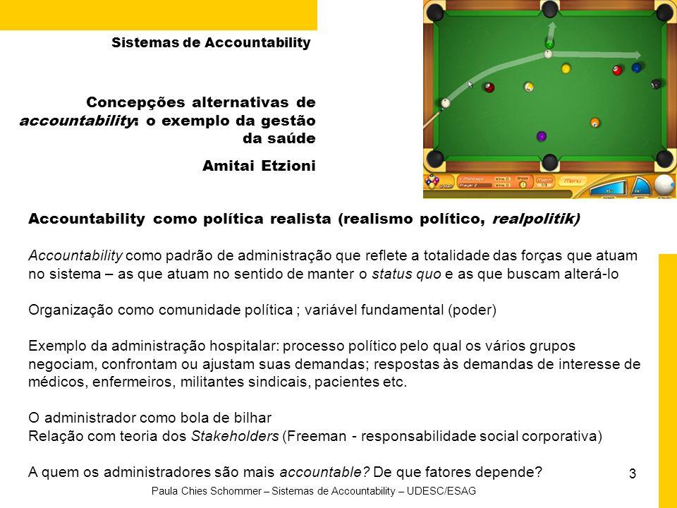 3 Paula Chies Schommer – Sistemas de Accountability – UDESC/ESAG Concepções alternativas de accountability: o exemplo da gestão da saúde Amitai Etzion