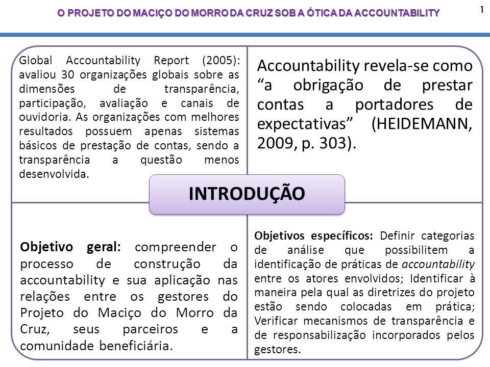 1 O PROJETO DO MACIÇO DO MORRO DA CRUZ SOB A ÓTICA DA ACCOUNTABILITY Global Accountability Report (2005): avaliou 30 organizações globais sobre as dimensões de transparência, participação, avaliação e canais de ouvidoria.
