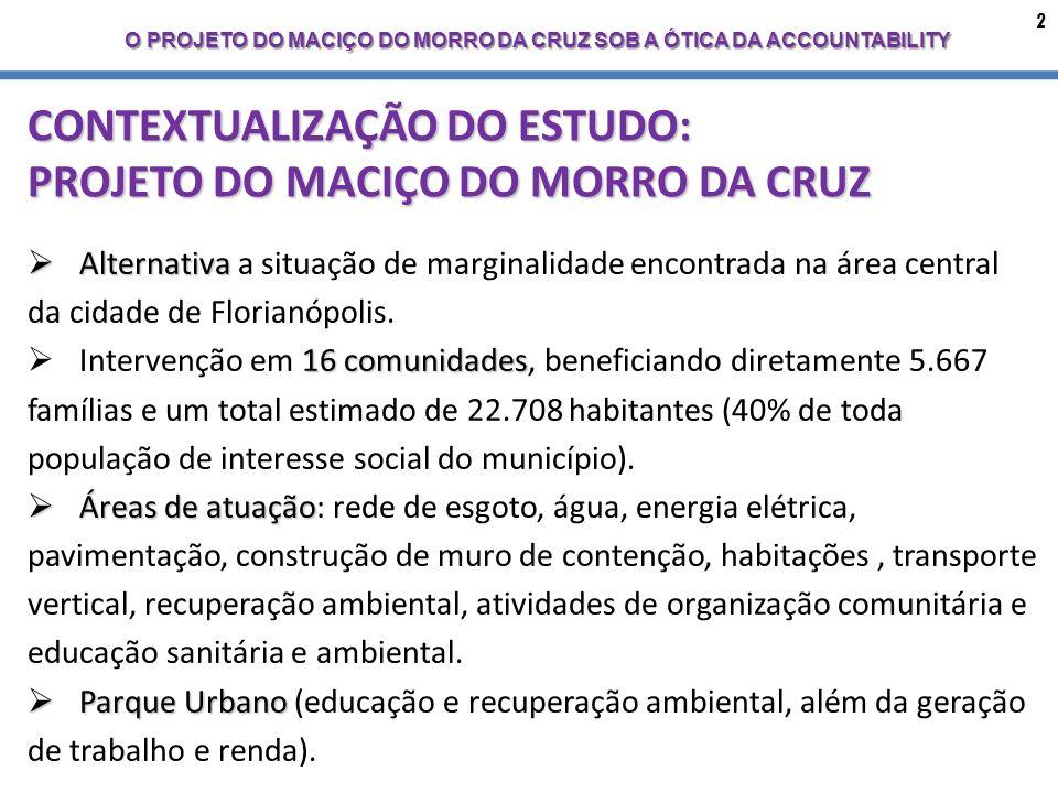 2 O PROJETO DO MACIÇO DO MORRO DA CRUZ SOB A ÓTICA DA ACCOUNTABILITY CONTEXTUALIZAÇÃO DO ESTUDO: PROJETO DO MACIÇO DO MORRO DA CRUZ Alternativa Alternativa a situação de marginalidade encontrada na área central da cidade de Florianópolis.