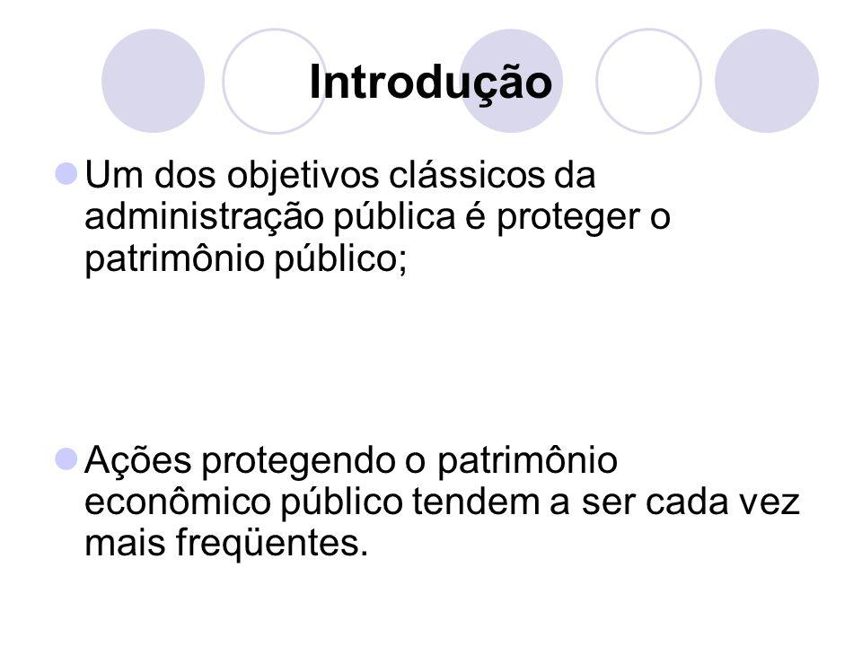 Introdução Um dos objetivos clássicos da administração pública é proteger o patrimônio público; Ações protegendo o patrimônio econômico público tendem a ser cada vez mais freqüentes.