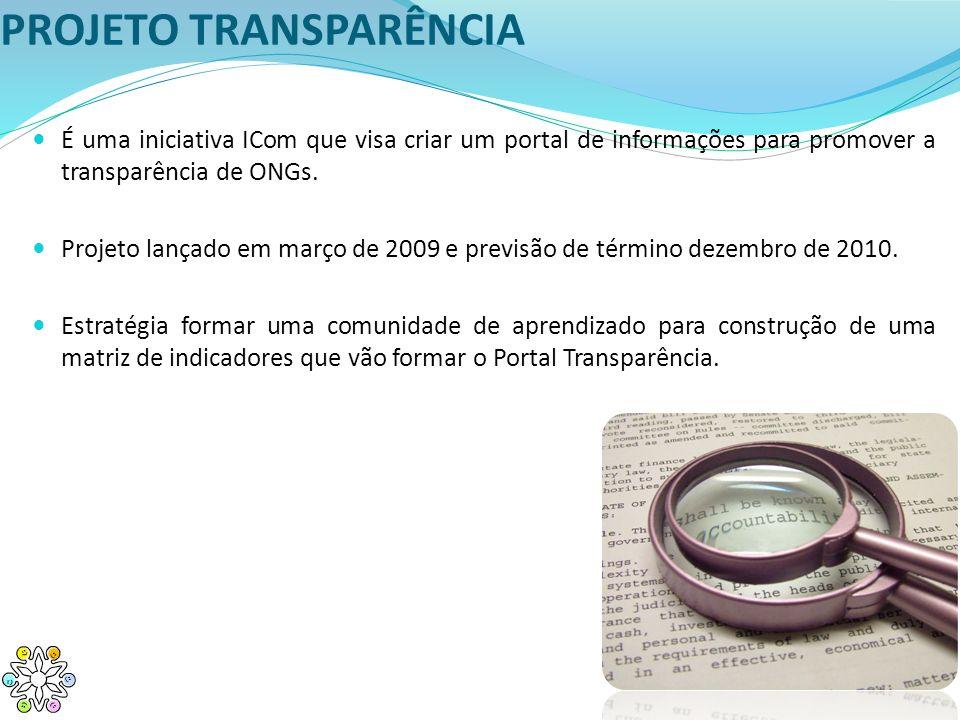 PROJETO TRANSPARÊNCIA É uma iniciativa ICom que visa criar um portal de informações para promover a transparência de ONGs. Projeto lançado em março de