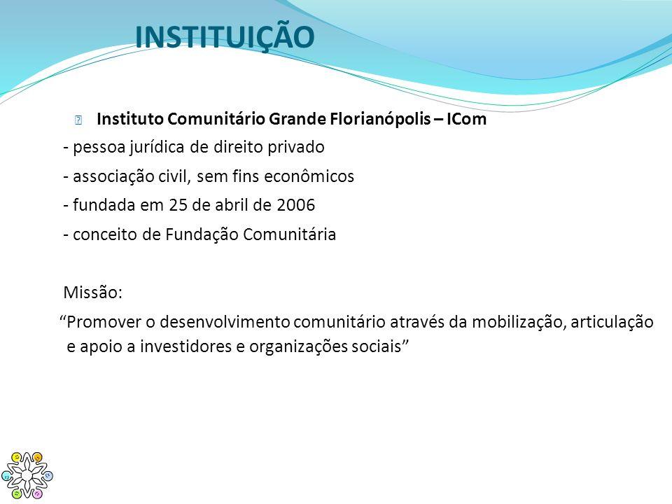 INSTITUIÇÃO Instituto Comunitário Grande Florianópolis – ICom - pessoa jurídica de direito privado - associação civil, sem fins econômicos - fundada e