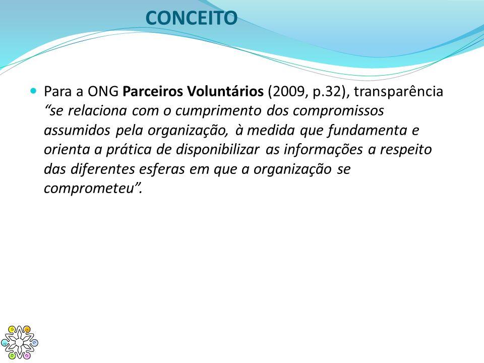 CONCEITO Para a ONG Parceiros Voluntários (2009, p.32), transparência se relaciona com o cumprimento dos compromissos assumidos pela organização, à me