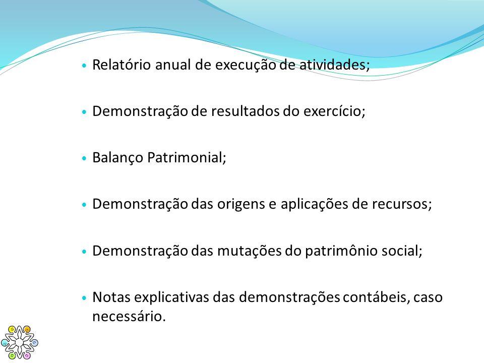 Relatório anual de execução de atividades; Demonstração de resultados do exercício; Balanço Patrimonial; Demonstração das origens e aplicações de recu