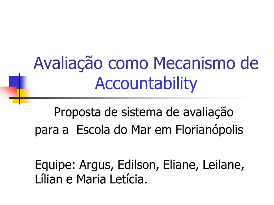 Avaliação como Mecanismo de Accountability Proposta de sistema de avaliação para a Escola do Mar em Florianópolis Equipe: Argus, Edilson, Eliane, Leil