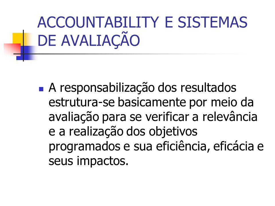 ACCOUNTABILITY E SISTEMAS DE AVALIAÇÃO A responsabilização dos resultados estrutura-se basicamente por meio da avaliação para se verificar a relevânci