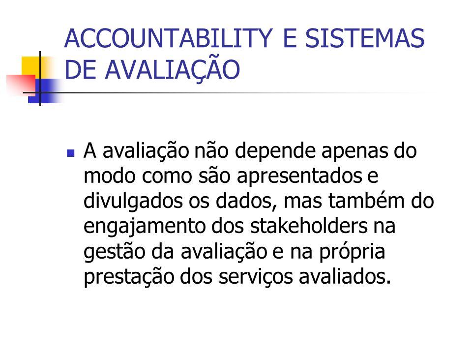 ACCOUNTABILITY E SISTEMAS DE AVALIAÇÃO A avaliação não depende apenas do modo como são apresentados e divulgados os dados, mas também do engajamento d