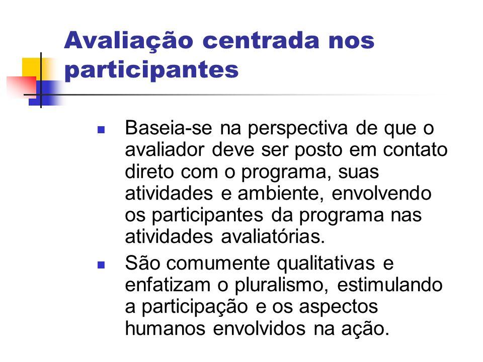 Avaliação centrada nos participantes Baseia-se na perspectiva de que o avaliador deve ser posto em contato direto com o programa, suas atividades e am
