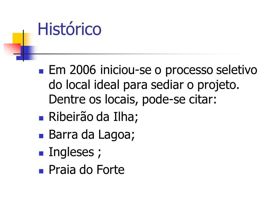 Histórico Em 2006 iniciou-se o processo seletivo do local ideal para sediar o projeto. Dentre os locais, pode-se citar: Ribeirão da Ilha; Barra da Lag