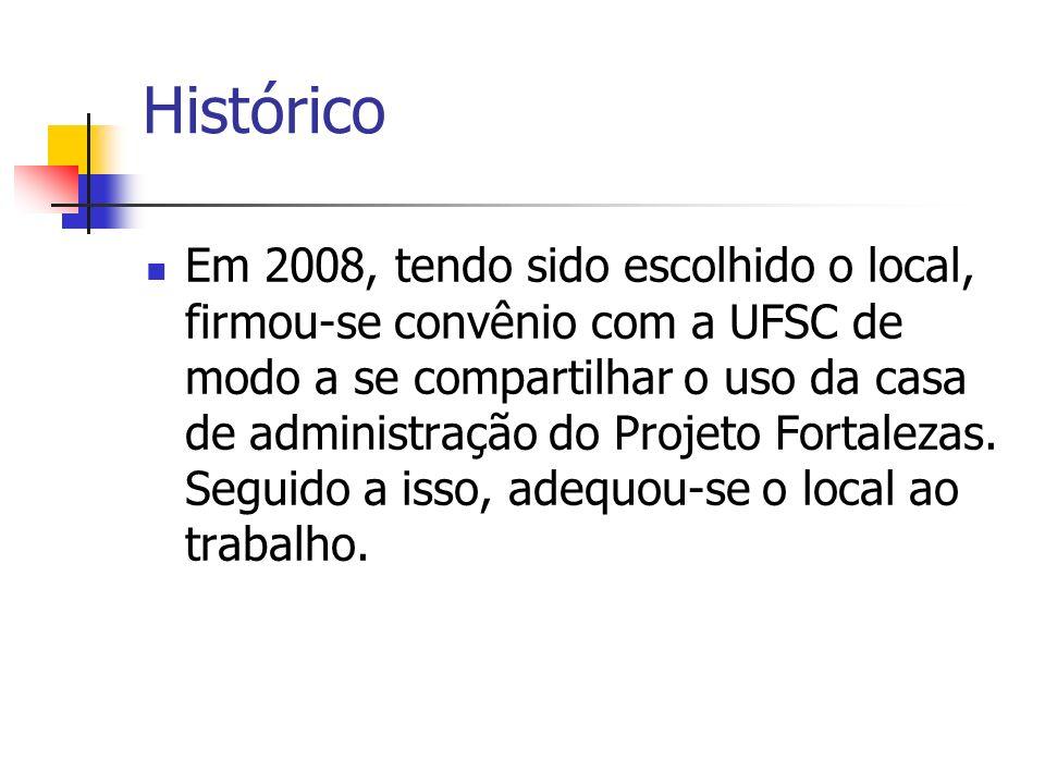 Histórico Em 2008, tendo sido escolhido o local, firmou-se convênio com a UFSC de modo a se compartilhar o uso da casa de administração do Projeto For