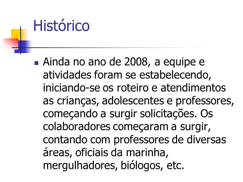 Histórico Ainda no ano de 2008, a equipe e atividades foram se estabelecendo, iniciando-se os roteiro e atendimentos as crianças, adolescentes e profe