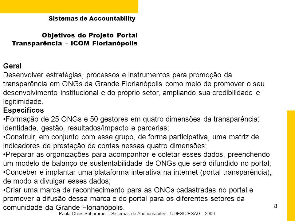 8 Paula Chies Schommer – Sistemas de Accountability – UDESC/ESAG – 2009 Objetivos do Projeto Portal Transparência – ICOM Florianópolis Geral Desenvolv