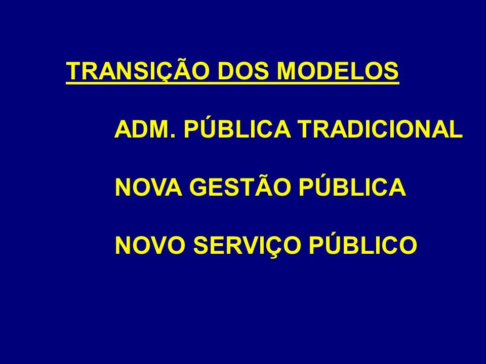 TRANSIÇÃO DOS MODELOS ADM. PÚBLICA TRADICIONAL NOVA GESTÃO PÚBLICA NOVO SERVIÇO PÚBLICO