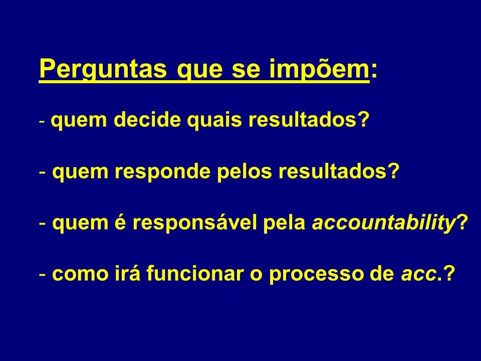Perguntas que se impõem: - quem decide quais resultados? - quem responde pelos resultados? - quem é responsável pela accountability? - como irá funcio