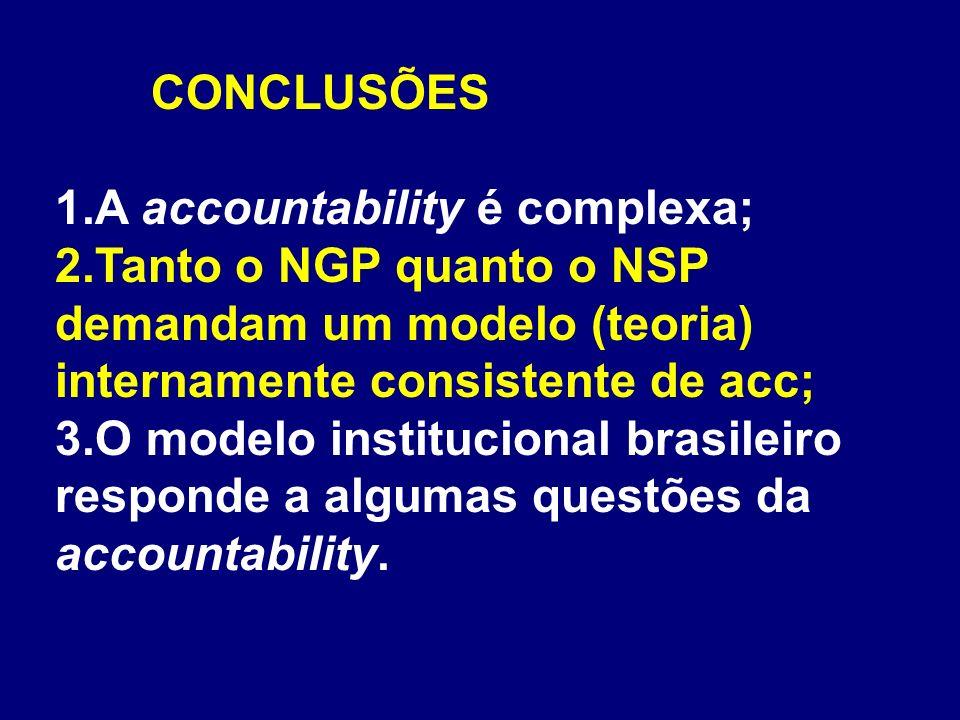 CONCLUSÕES 1.A accountability é complexa; 2.Tanto o NGP quanto o NSP demandam um modelo (teoria) internamente consistente de acc; 3.O modelo instituci