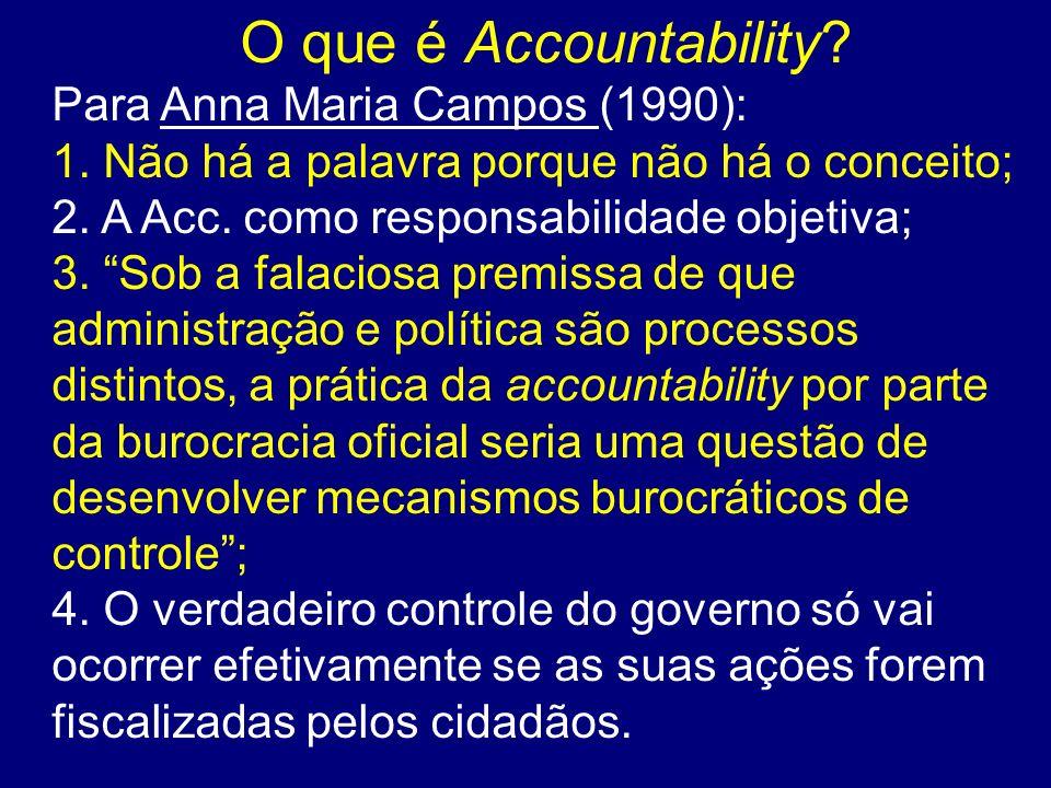O que é Accountability? Para Anna Maria Campos (1990): 1. Não há a palavra porque não há o conceito; 2. A Acc. como responsabilidade objetiva; 3. Sob