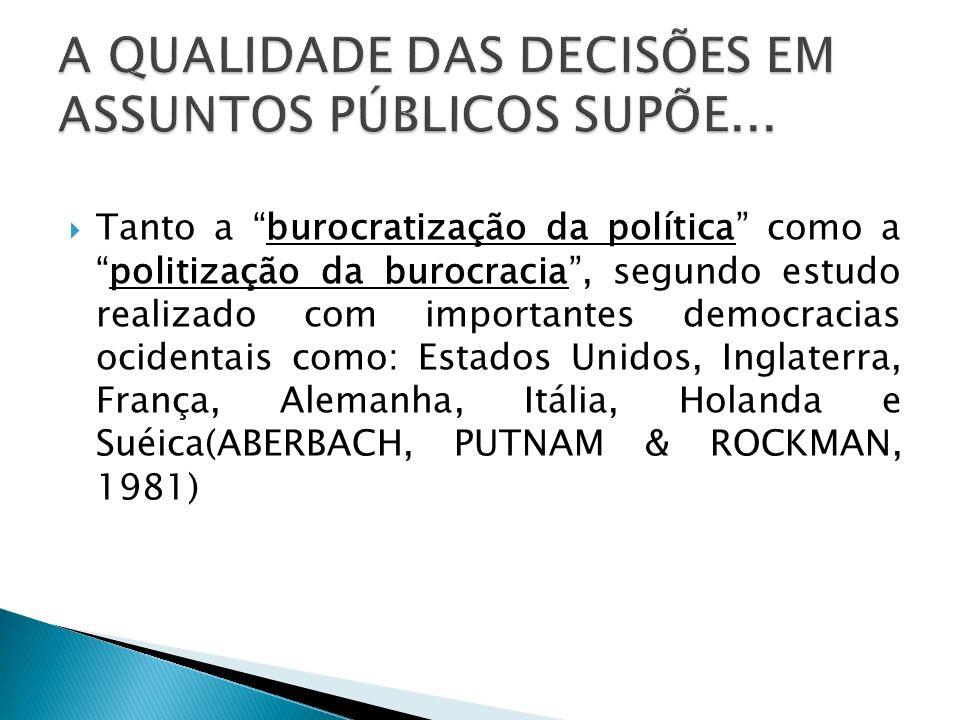 Tanto a burocratização da política como apolitização da burocracia, segundo estudo realizado com importantes democracias ocidentais como: Estados Unid