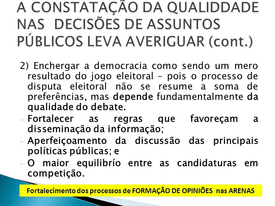 2) Enchergar a democracia como sendo um mero resultado do jogo eleitoral – pois o processo de disputa eleitoral não se resume a soma de preferências,