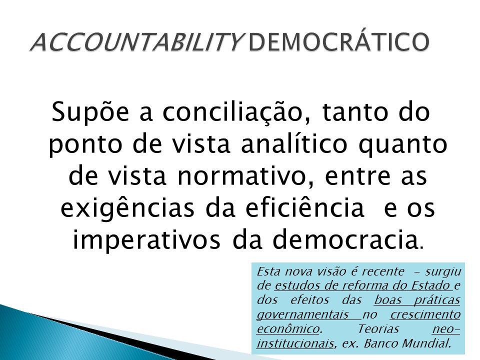 Supõe a conciliação, tanto do ponto de vista analítico quanto de vista normativo, entre as exigências da eficiência e os imperativos da democracia. Es