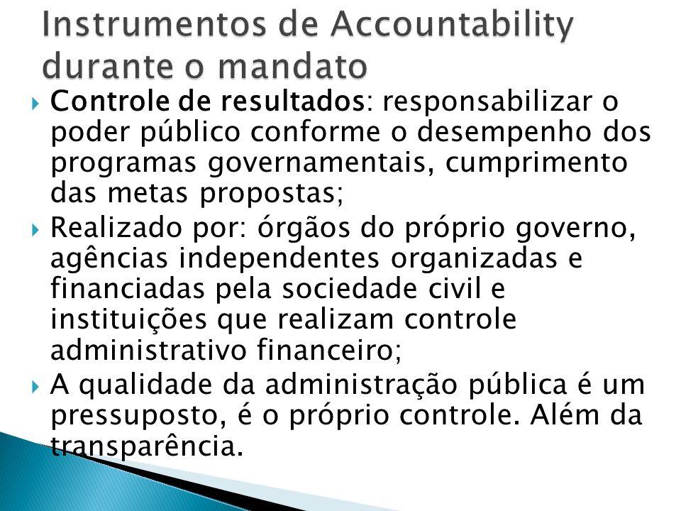Controle de resultados: responsabilizar o poder público conforme o desempenho dos programas governamentais, cumprimento das metas propostas; Realizado
