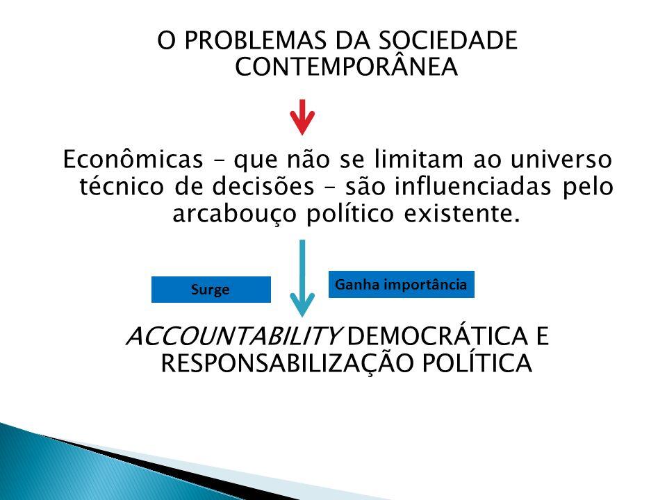 O PROBLEMAS DA SOCIEDADE CONTEMPORÂNEA Econômicas – que não se limitam ao universo técnico de decisões – são influenciadas pelo arcabouço político exi