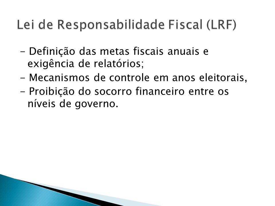 - Definição das metas fiscais anuais e exigência de relatórios; - Mecanismos de controle em anos eleitorais, - Proibição do socorro financeiro entre o