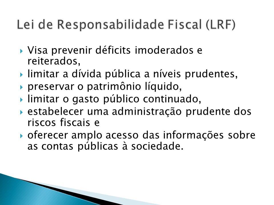 Visa prevenir déficits imoderados e reiterados, limitar a dívida pública a níveis prudentes, preservar o patrimônio líquido, limitar o gasto público c
