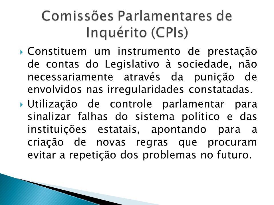 Constituem um instrumento de prestação de contas do Legislativo à sociedade, não necessariamente através da punição de envolvidos nas irregularidades