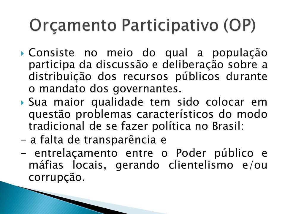 Consiste no meio do qual a população participa da discussão e deliberação sobre a distribuição dos recursos públicos durante o mandato dos governantes