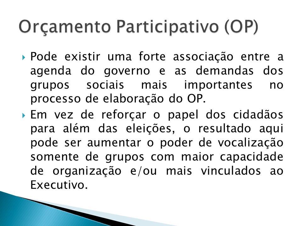 Pode existir uma forte associação entre a agenda do governo e as demandas dos grupos sociais mais importantes no processo de elaboração do OP. Em vez