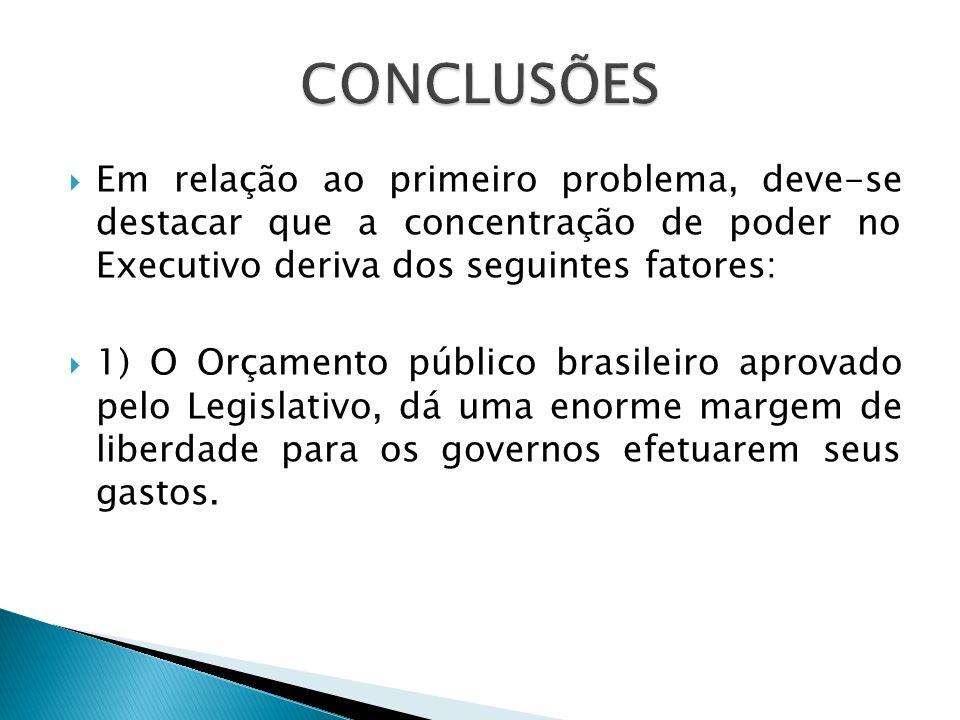 Em relação ao primeiro problema, deve-se destacar que a concentração de poder no Executivo deriva dos seguintes fatores: 1) O Orçamento público brasil