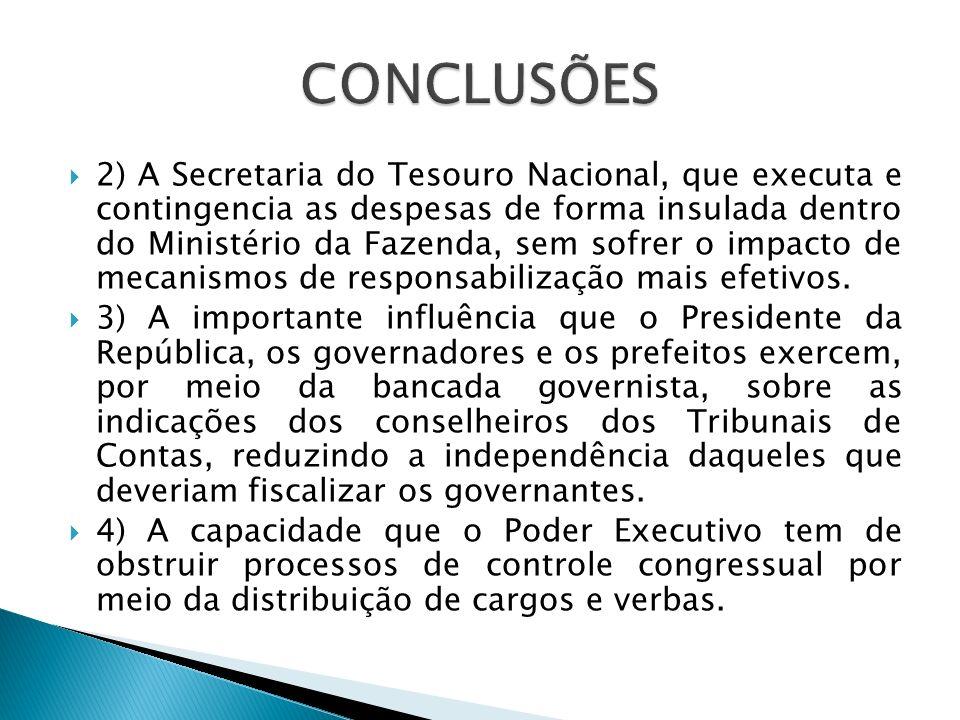 2) A Secretaria do Tesouro Nacional, que executa e contingencia as despesas de forma insulada dentro do Ministério da Fazenda, sem sofrer o impacto de