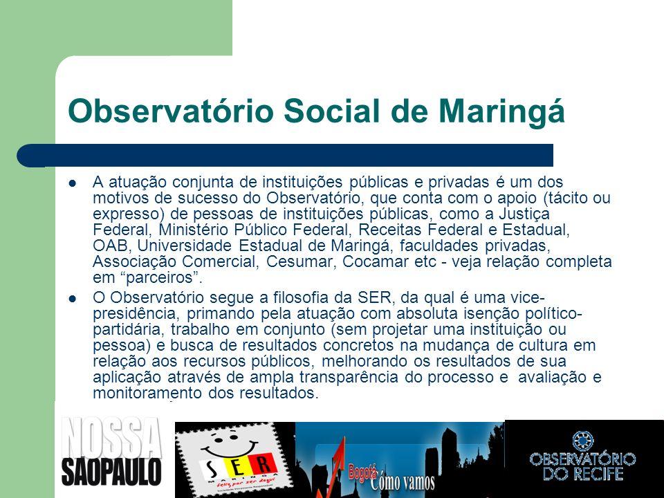 Observatório Social de Maringá A atuação conjunta de instituições públicas e privadas é um dos motivos de sucesso do Observatório, que conta com o apo