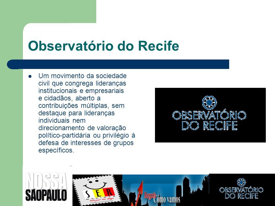 Observatório do Recife Um movimento da sociedade civil que congrega lideranças institucionais e empresariais e cidadãos, aberto a contribuições múltip