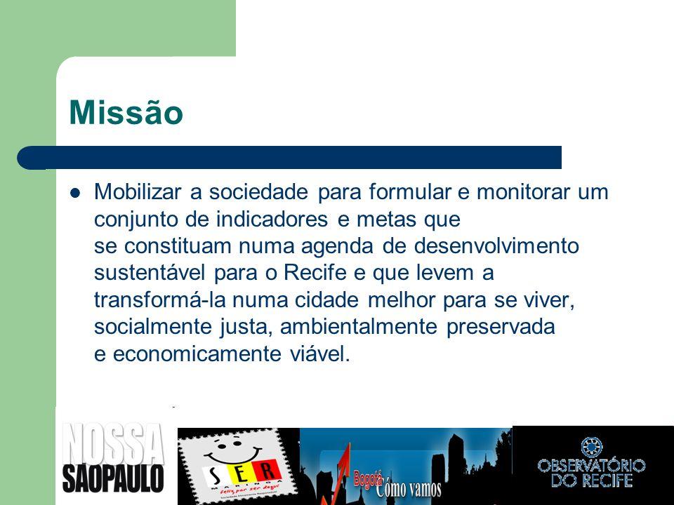 Missão Mobilizar a sociedade para formular e monitorar um conjunto de indicadores e metas que se constituam numa agenda de desenvolvimento sustentável