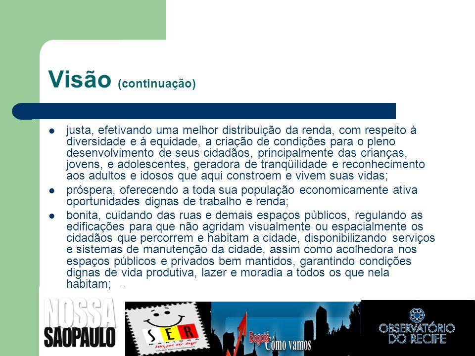 Visão (continuação) justa, efetivando uma melhor distribuição da renda, com respeito à diversidade e à equidade, a criação de condições para o pleno d