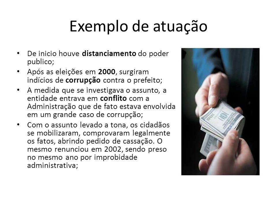 Exemplo de atuação De inicio houve distanciamento do poder publico; Após as eleições em 2000, surgiram indícios de corrupção contra o prefeito; A medi