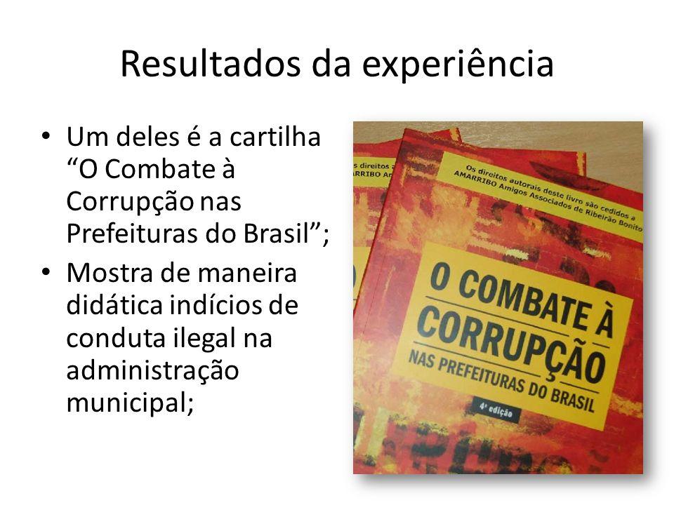 Resultados da experiência Um deles é a cartilha O Combate à Corrupção nas Prefeituras do Brasil; Mostra de maneira didática indícios de conduta ilegal