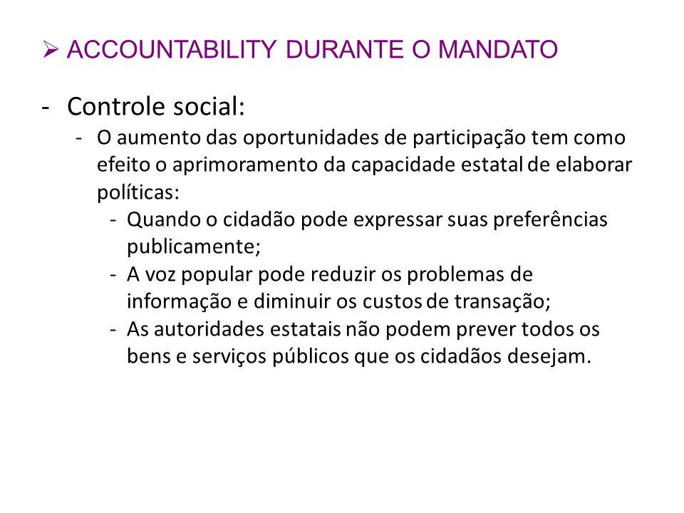 ACCOUNTABILITY DURANTE O MANDATO -Controle social: -O aumento das oportunidades de participação tem como efeito o aprimoramento da capacidade estatal